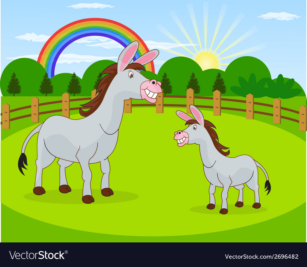 Cartoon donkey and rural meadow with green grass vector | Price: 1 Credit (USD $1)