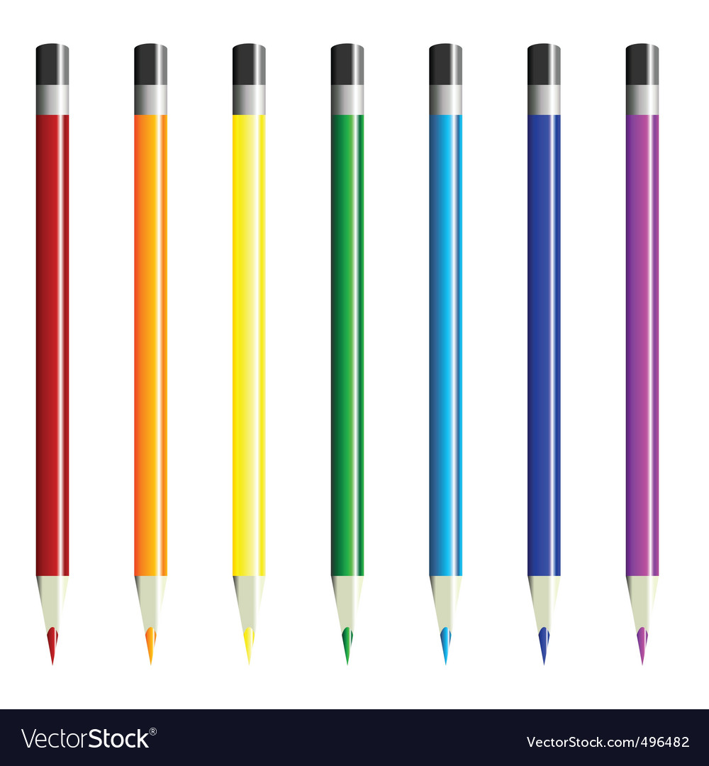 Color pencils over white vector | Price: 1 Credit (USD $1)