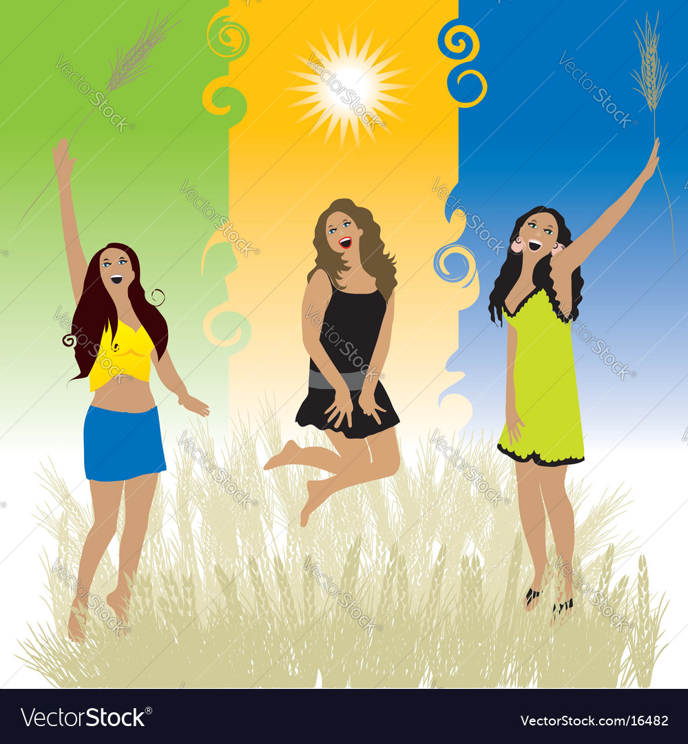 Girls on nature vector | Price: 3 Credit (USD $3)
