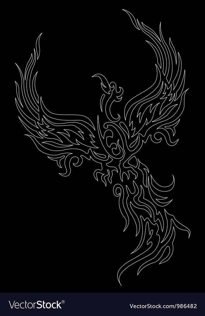 Mythical phoenix bird on dark background vector | Price: 1 Credit (USD $1)