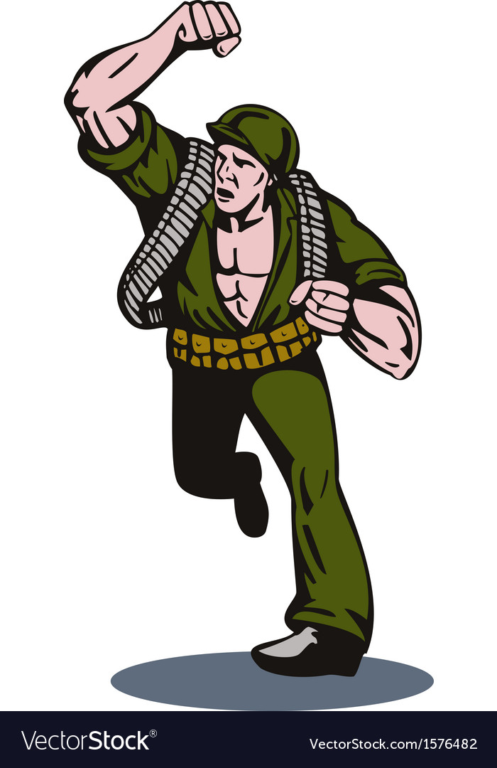 Soldier running punch vector | Price: 1 Credit (USD $1)