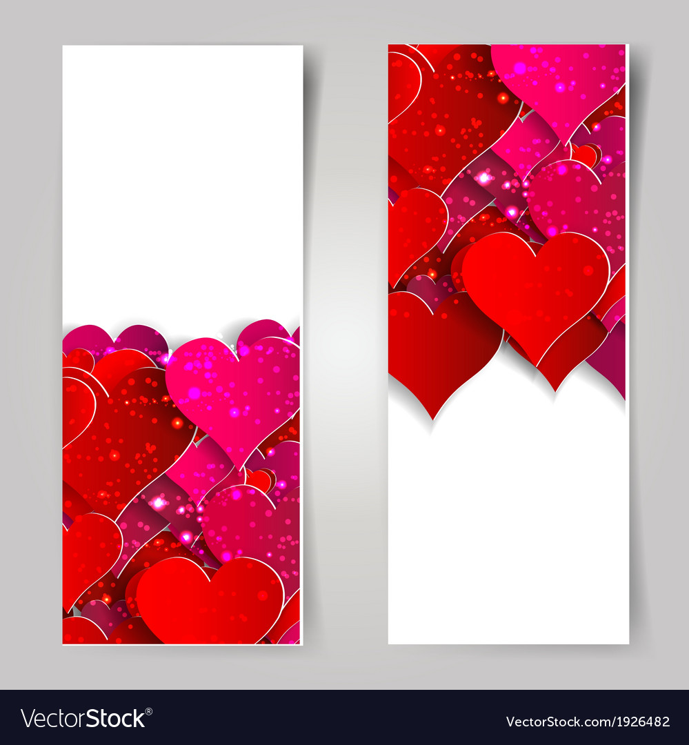 Valentines day abstract cards with paper hearts vector   Price: 1 Credit (USD $1)
