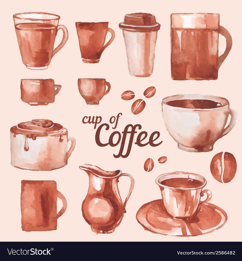 Watercolor vintage cups of coffee vector | Price: 1 Credit (USD $1)