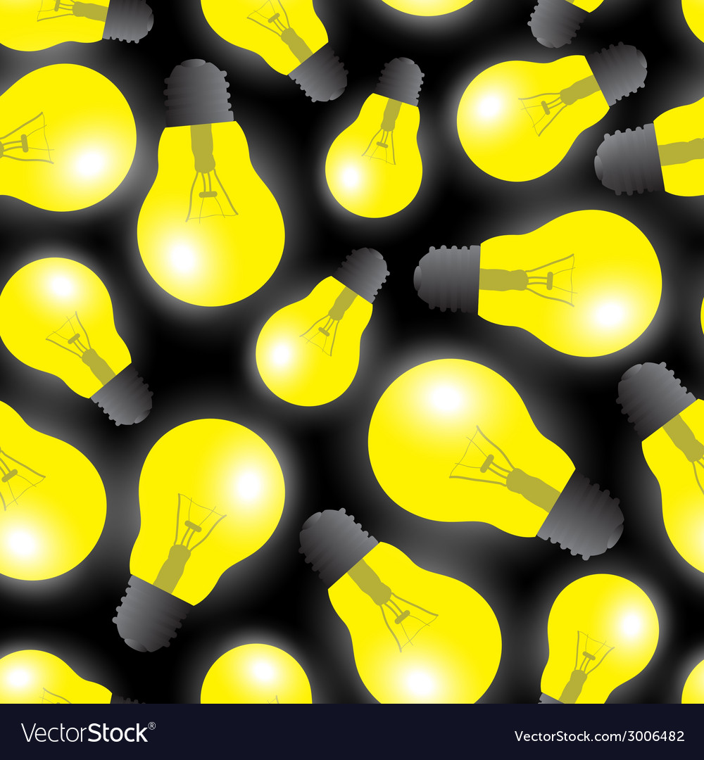 Yellow light bulbs - light source seamless pattern vector | Price: 1 Credit (USD $1)