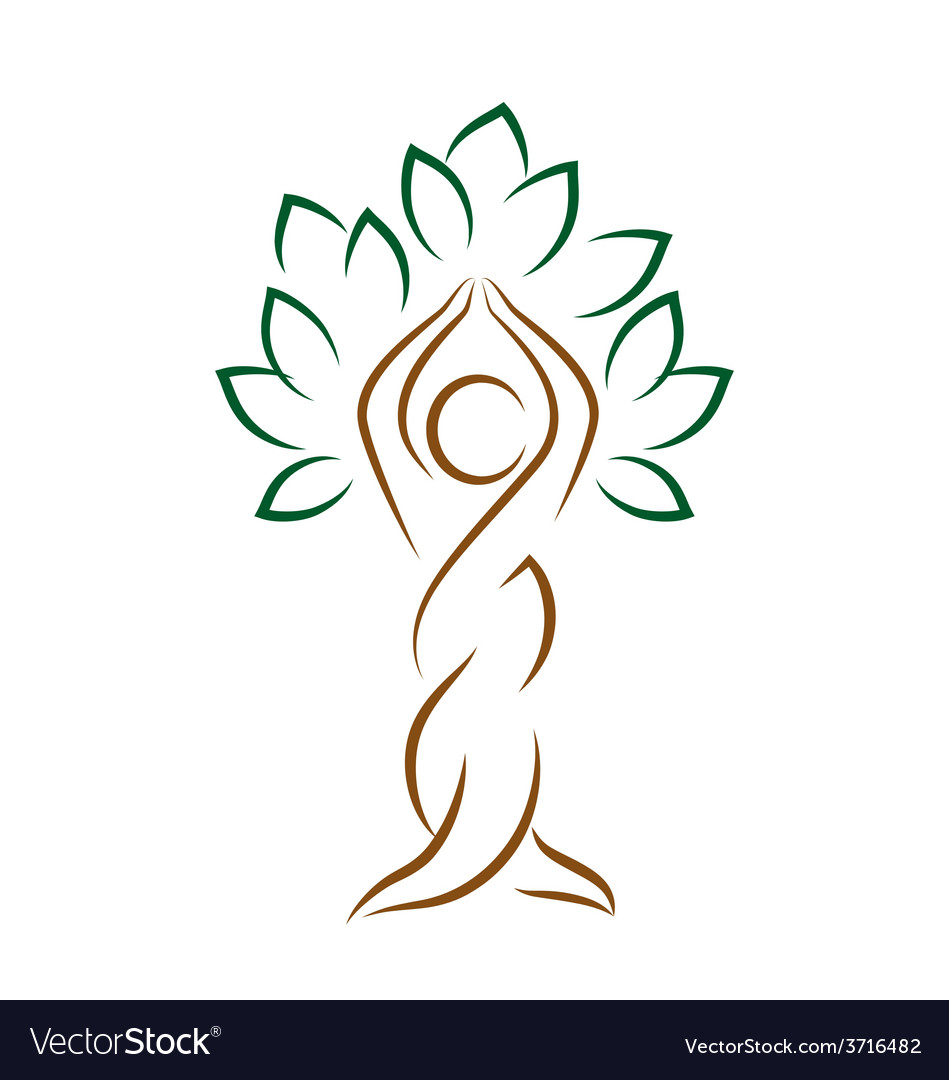 Yoga emblem with abstract tree pose isolated on vector | Price: 1 Credit (USD $1)