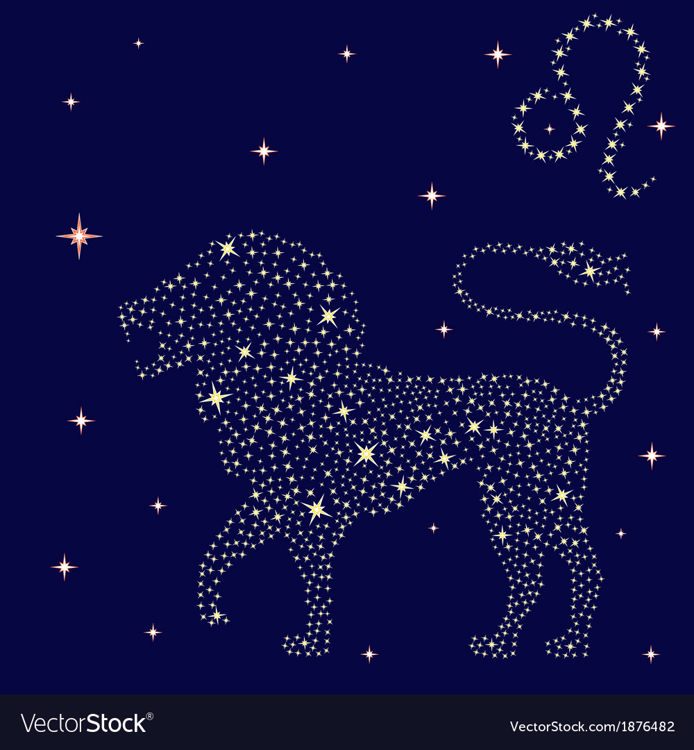 Zodiac sign leo on the starry sky vector | Price: 1 Credit (USD $1)