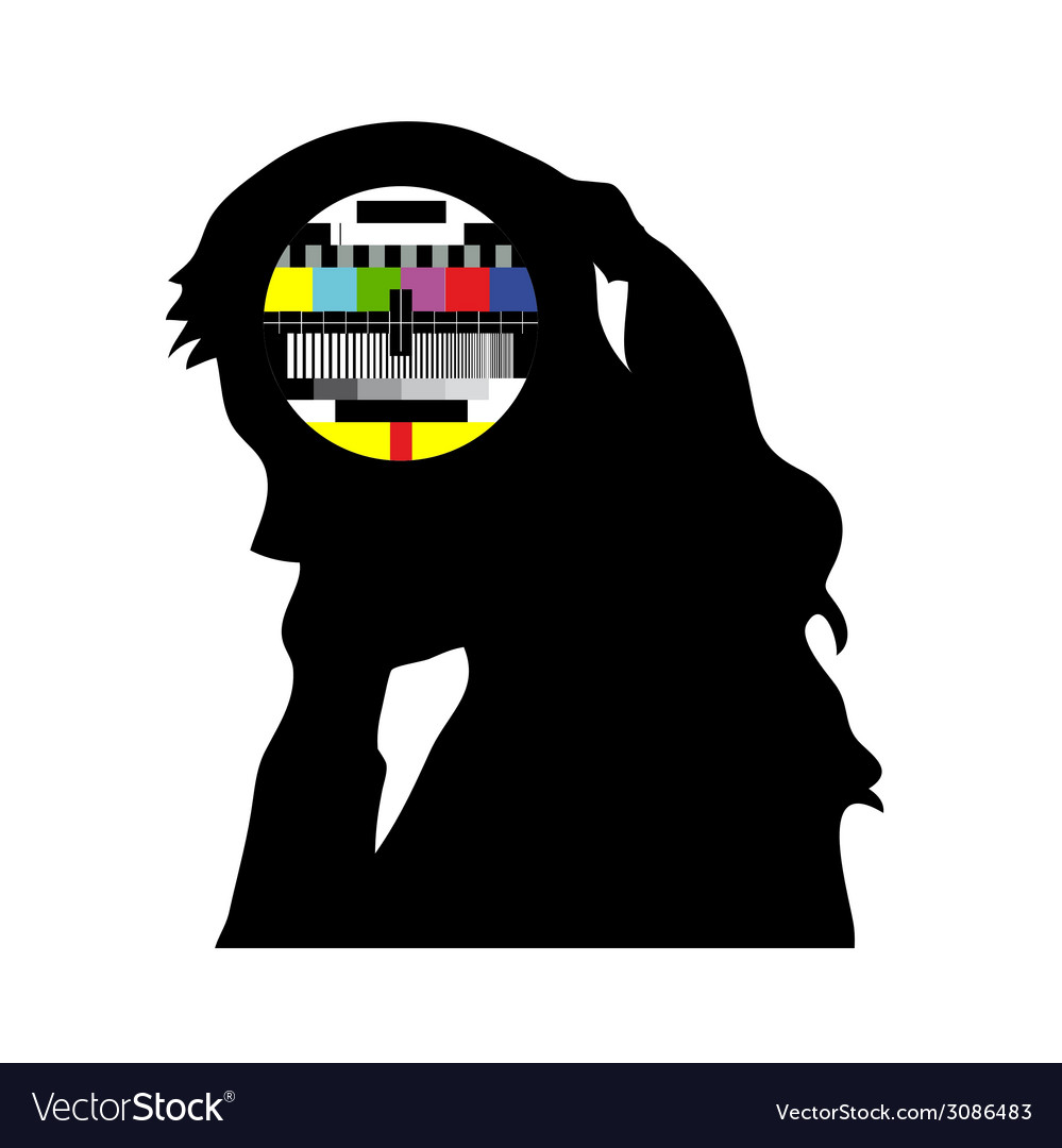 Beauty girl and tv test vector | Price: 1 Credit (USD $1)