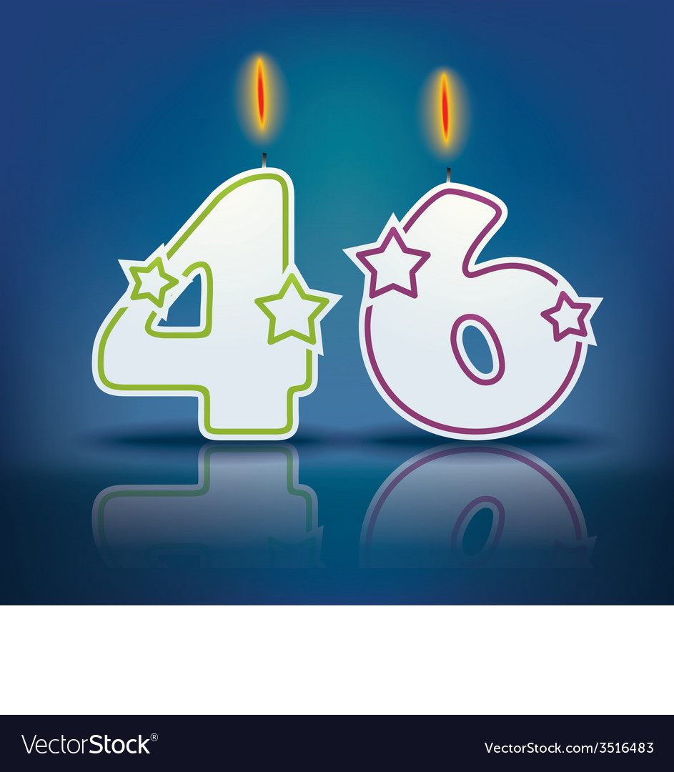 Birthday candle number 46 vector | Price: 1 Credit (USD $1)