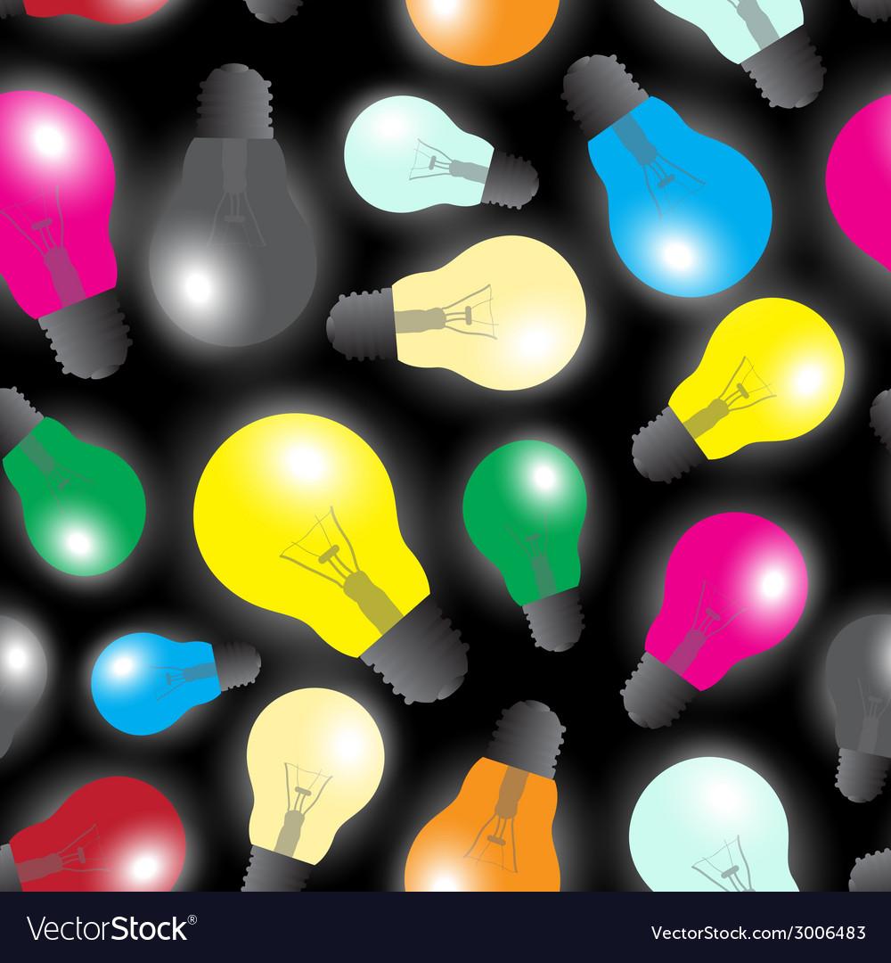 Color light bulbs - light source seamless pattern vector | Price: 1 Credit (USD $1)