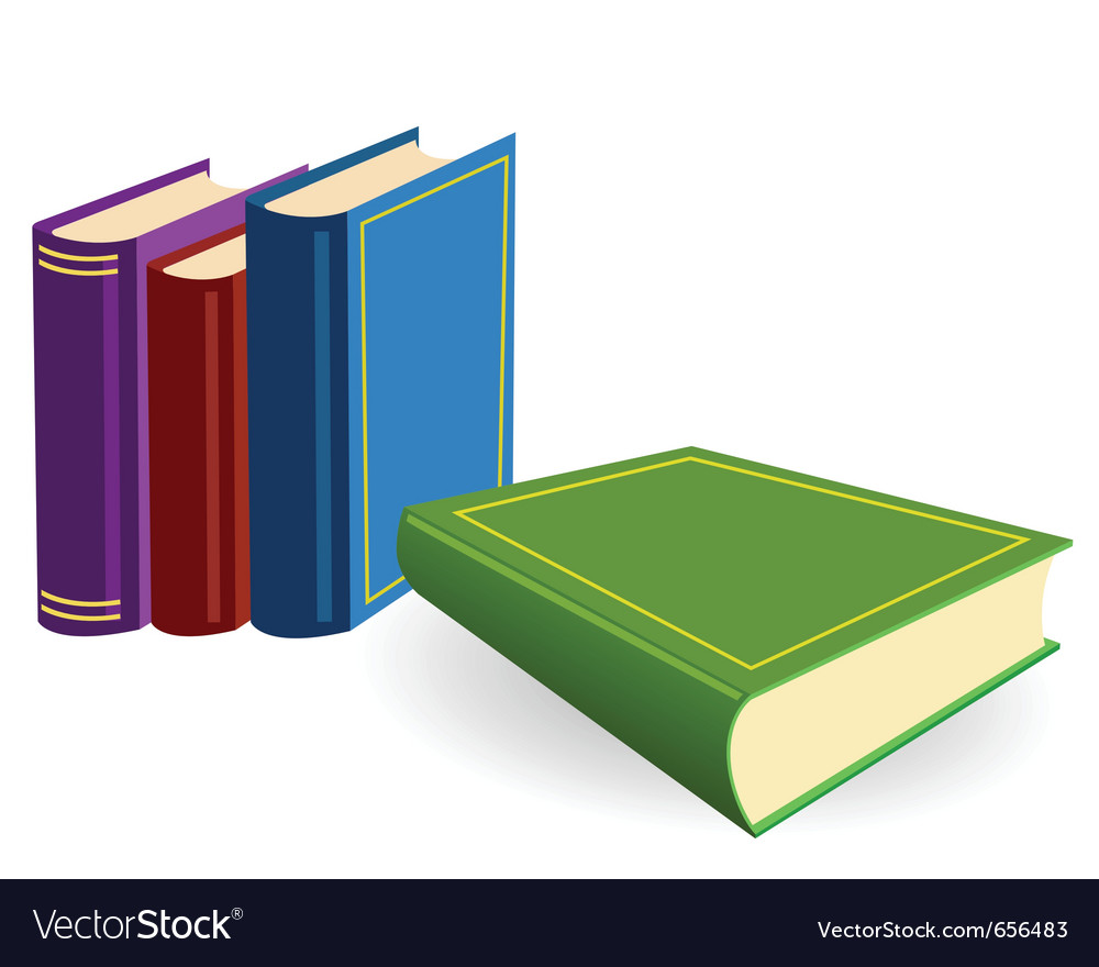 Four multicoloured books lay on a white background vector | Price: 1 Credit (USD $1)