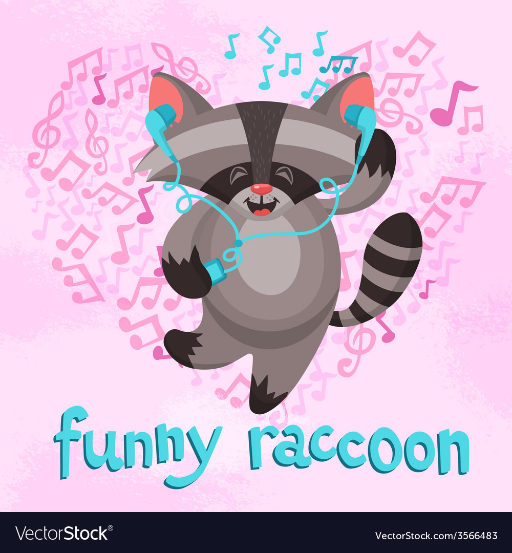 Funny raccoon poster vector | Price: 1 Credit (USD $1)