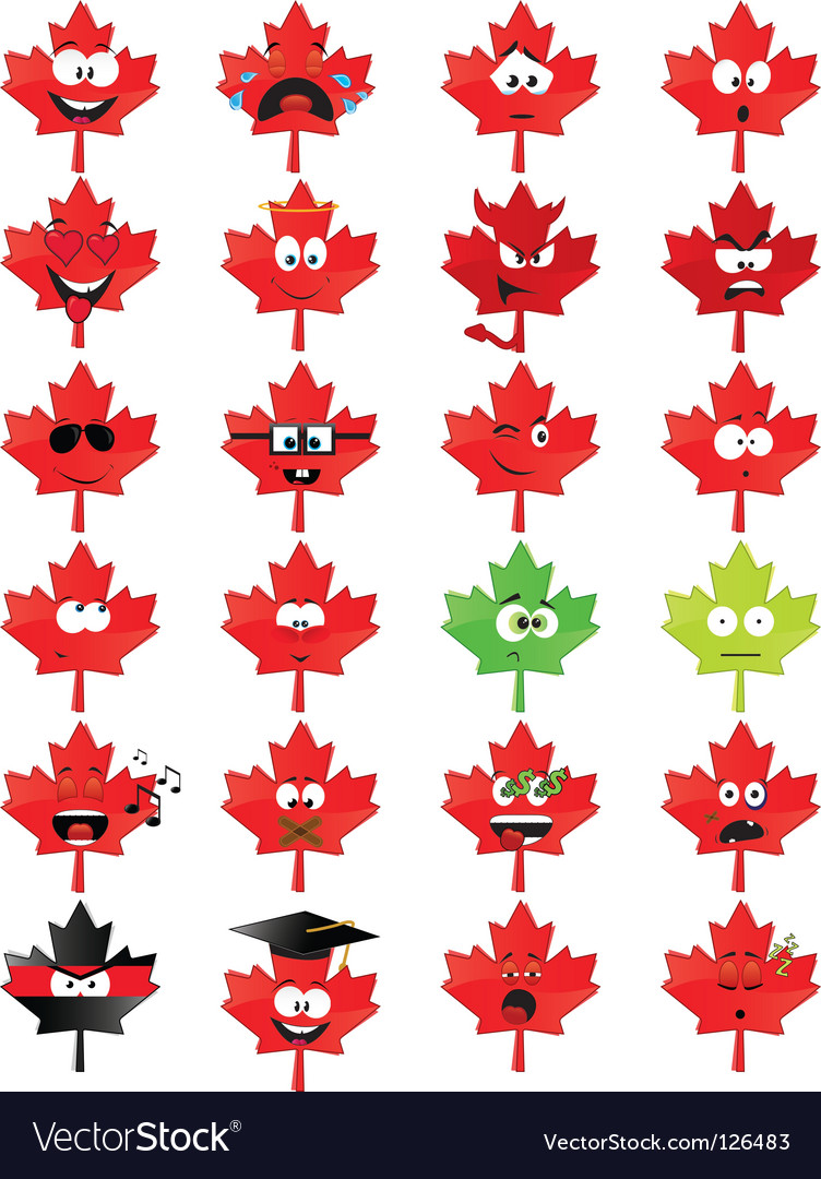 Maple leaf shaped smiley faces vector | Price: 1 Credit (USD $1)