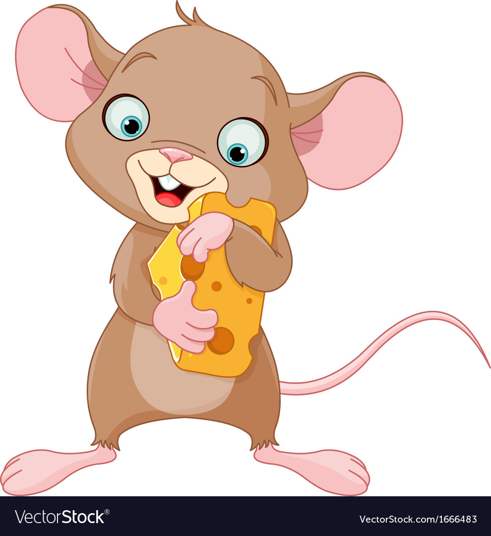 Mouse holding a piece of cheese vector | Price: 1 Credit (USD $1)