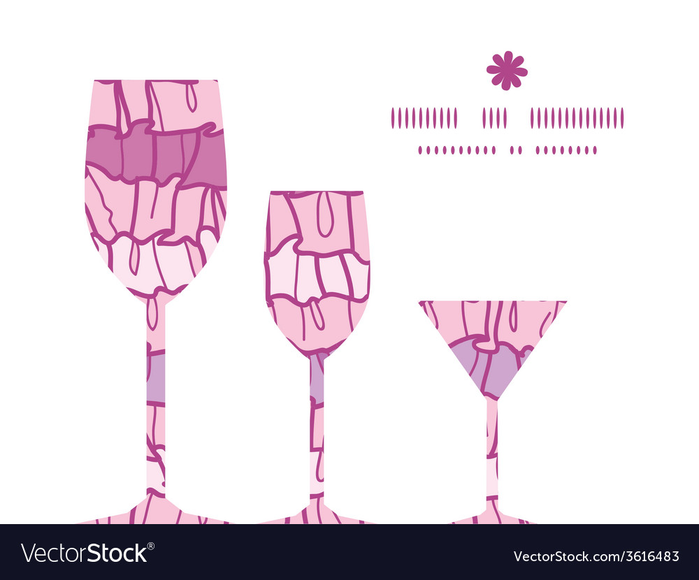 Pink ruffle fabric stripes three wine glasses vector | Price: 1 Credit (USD $1)