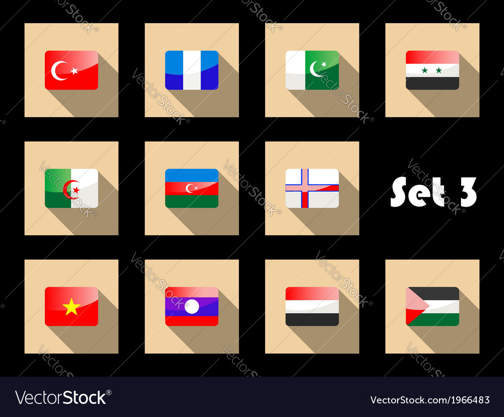 Set of flat flag icons of eastern countries vector | Price: 1 Credit (USD $1)