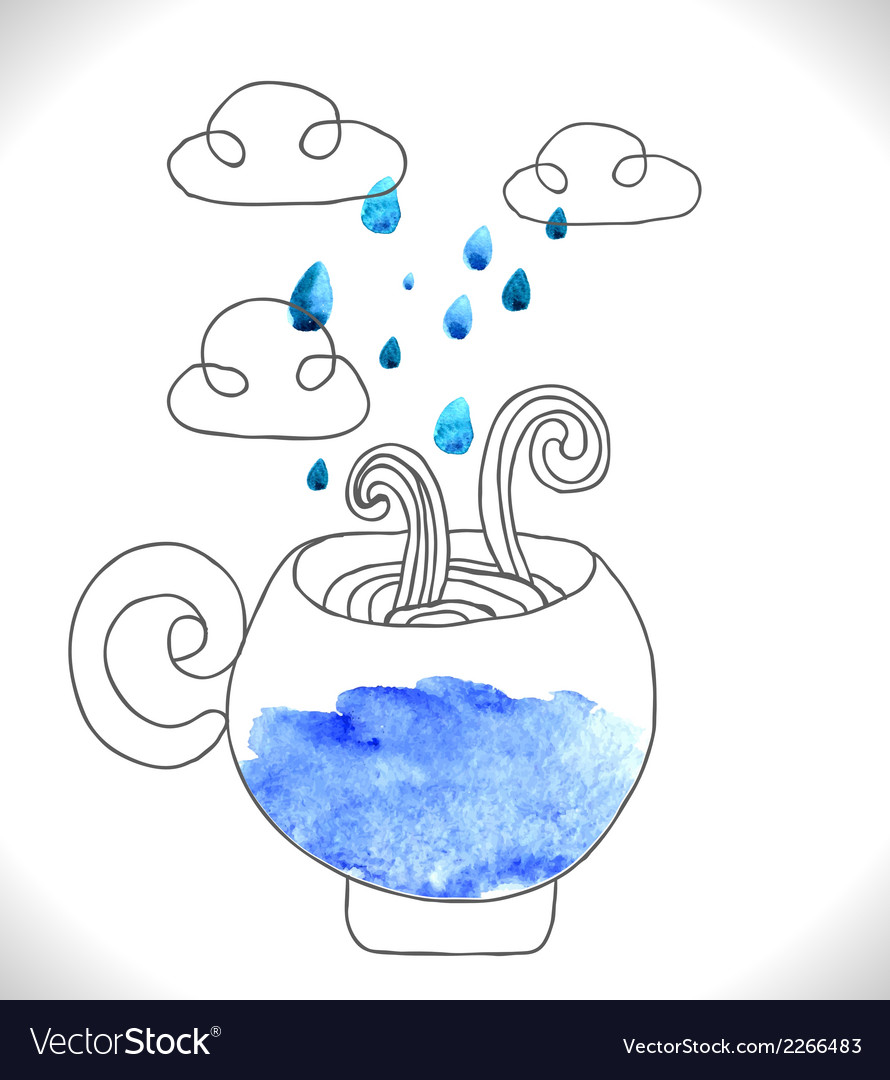 Tea cup with clouds and rain vector | Price: 1 Credit (USD $1)