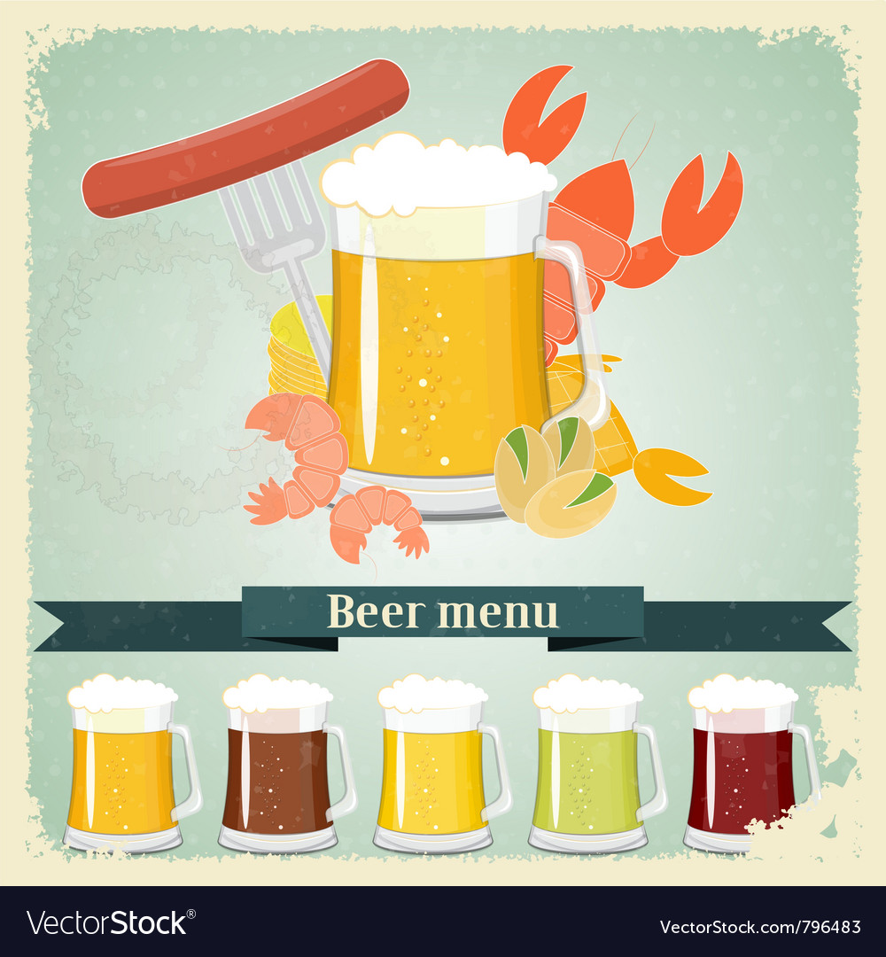 Vintage beer menu postcard vector | Price: 3 Credit (USD $3)