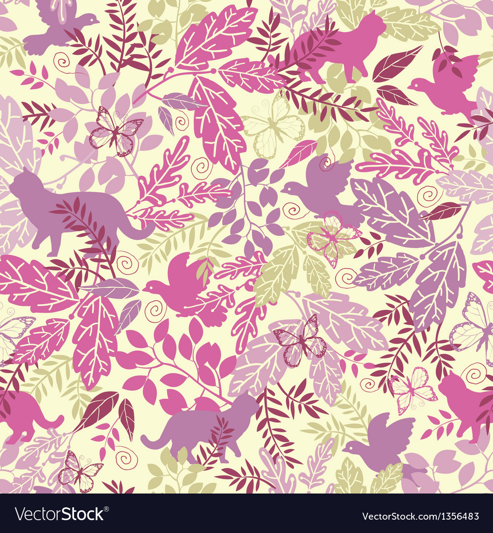 Wildlife seamless pattern background vector | Price: 1 Credit (USD $1)