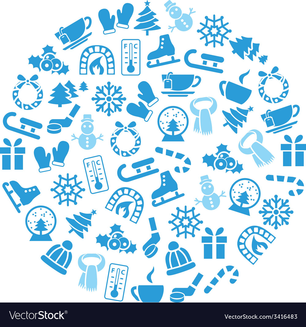 Winter icons in circle vector | Price: 1 Credit (USD $1)