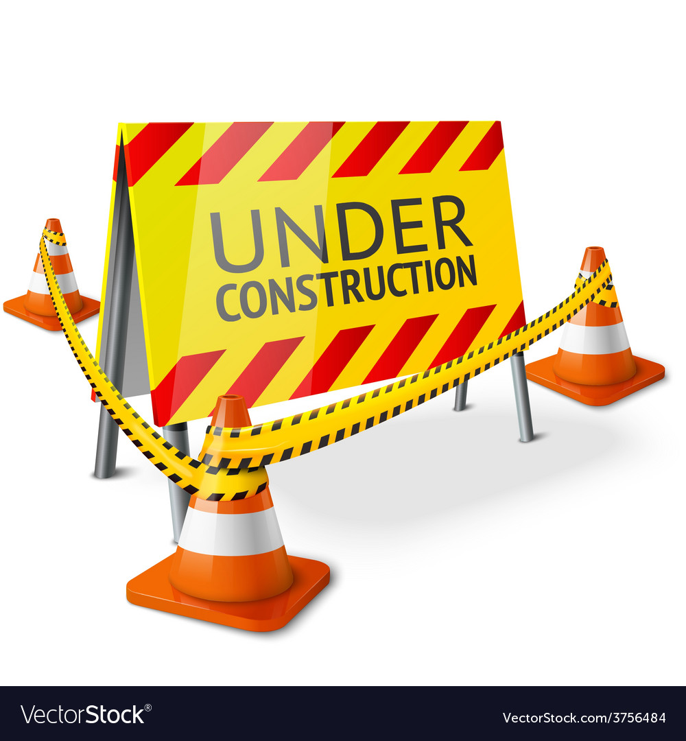 Bright under construction sign with orange vector | Price: 1 Credit (USD $1)