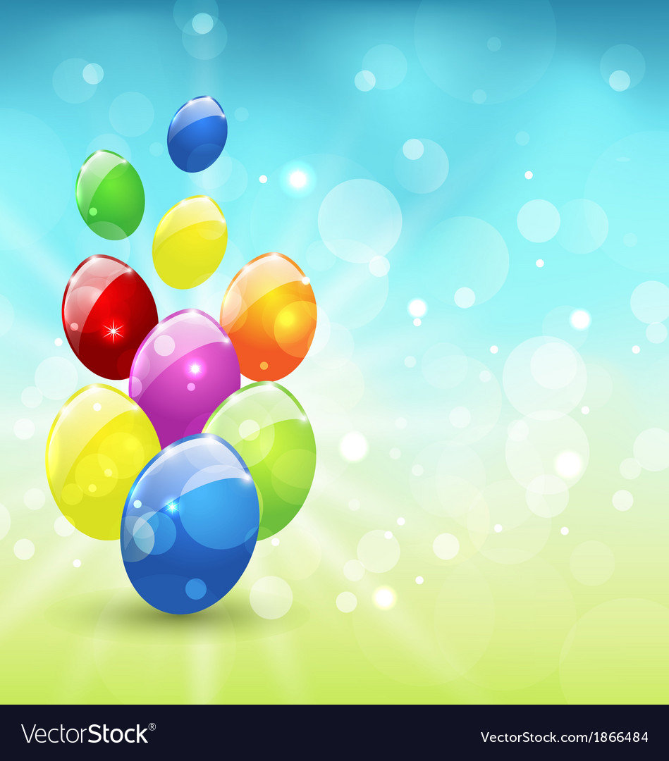 Easter set colorful eggs holiday background vector | Price: 1 Credit (USD $1)