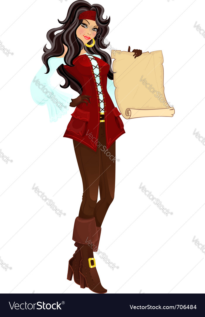 Pirate girl with scroll vector | Price: 3 Credit (USD $3)