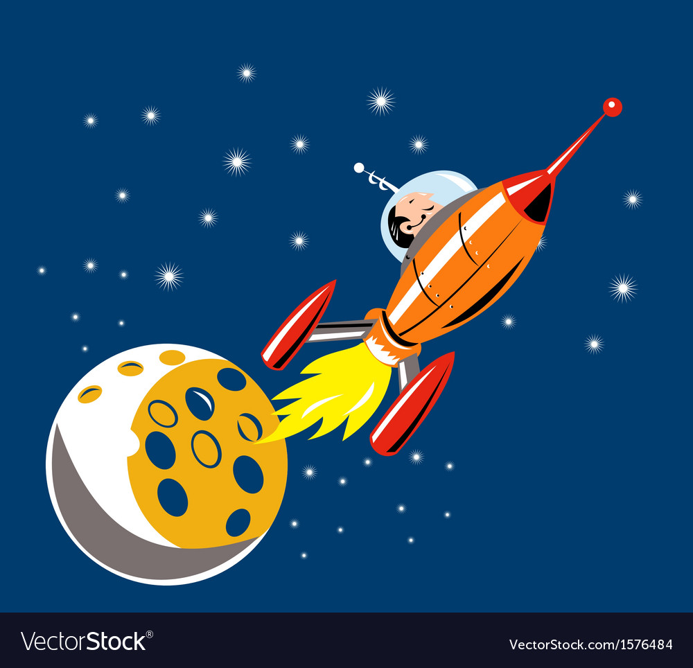 Spaceship man moon vector | Price: 1 Credit (USD $1)