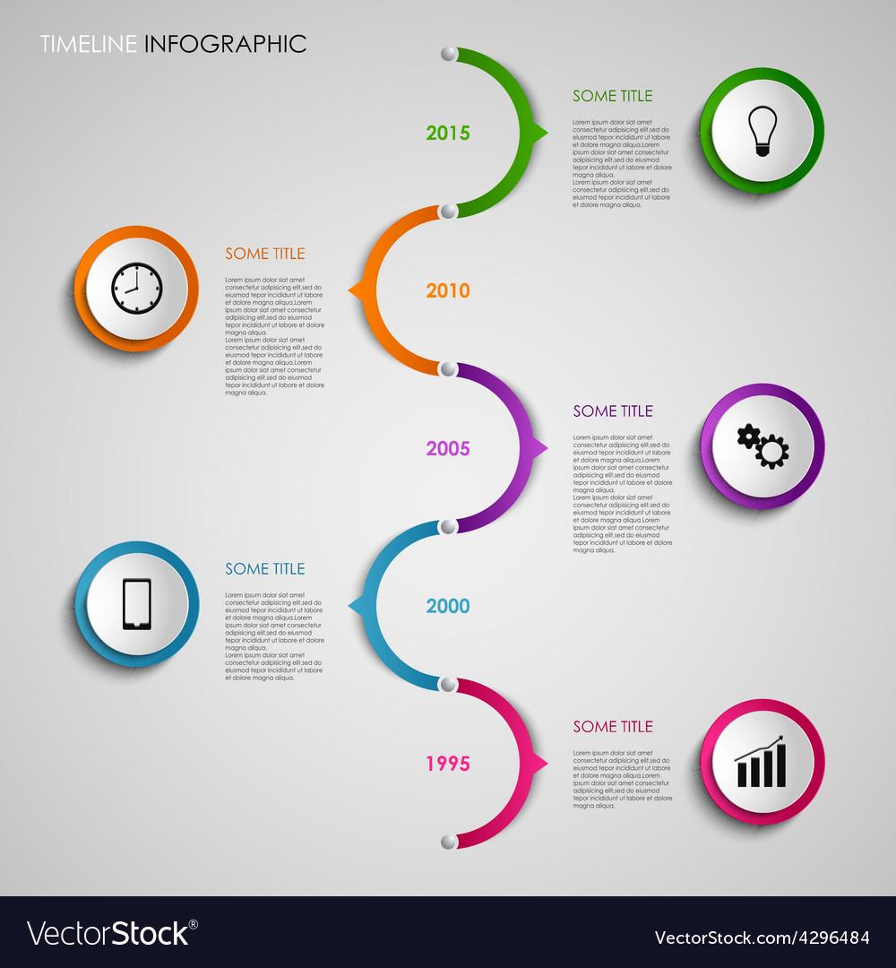 Time line info graphic colored round design vector   Price: 1 Credit (USD $1)