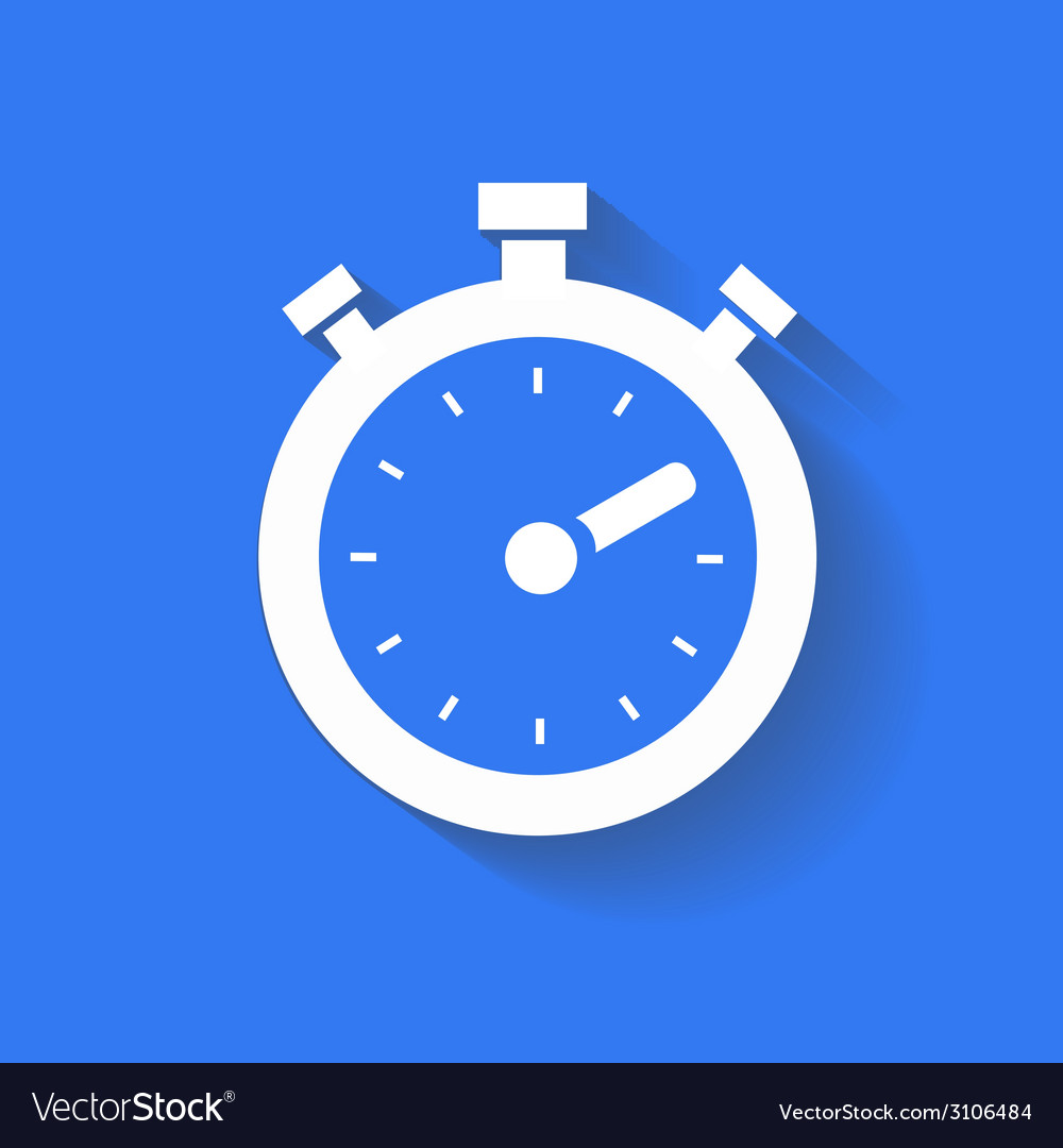 Timer icon isolated white on the blue background vector | Price: 1 Credit (USD $1)