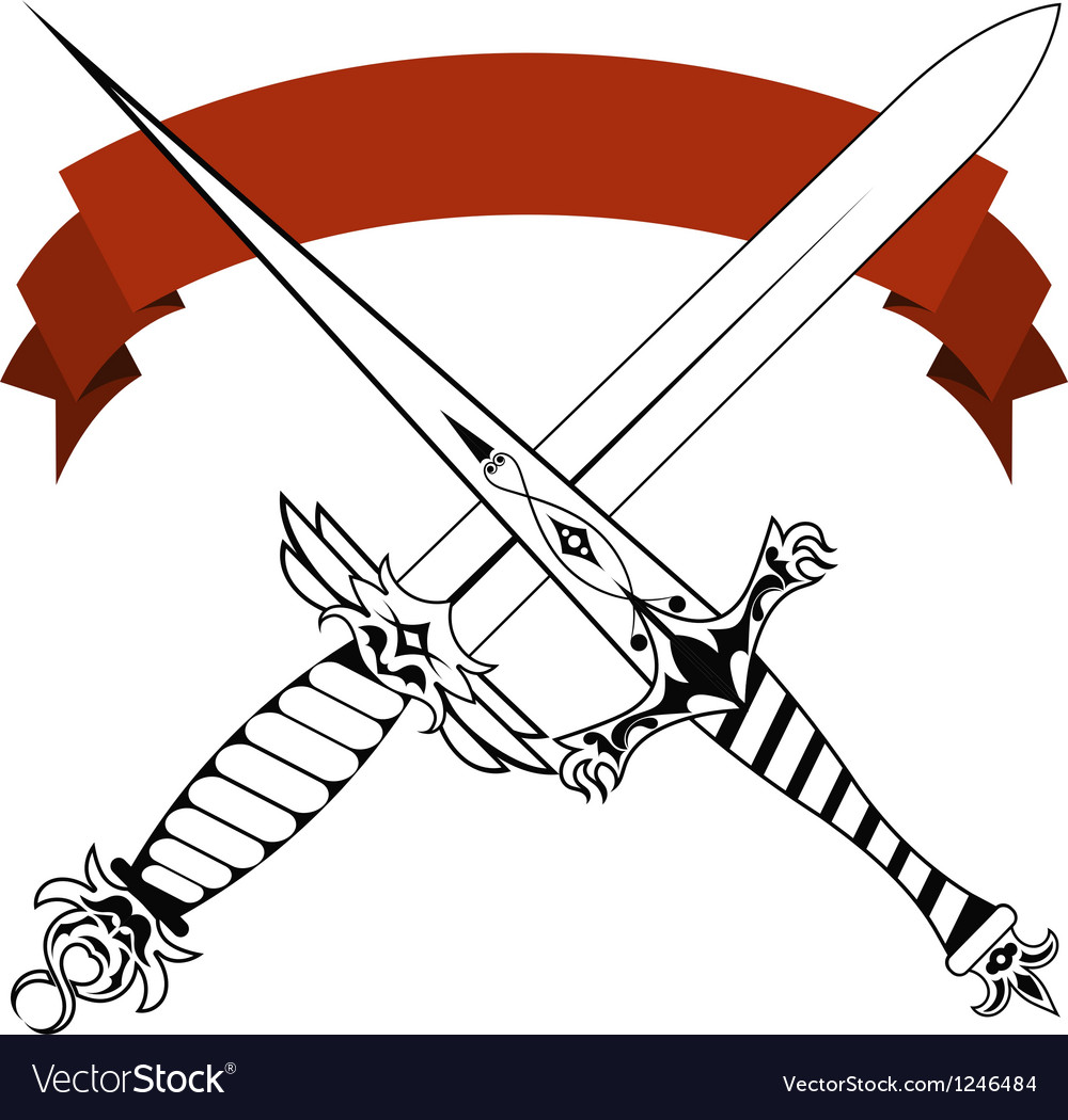Vintage crossed daggers and red tape tattoo vector | Price: 1 Credit (USD $1)