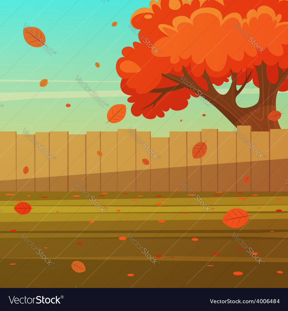 Wooden fence with tree vector   Price: 5 Credit (USD $5)