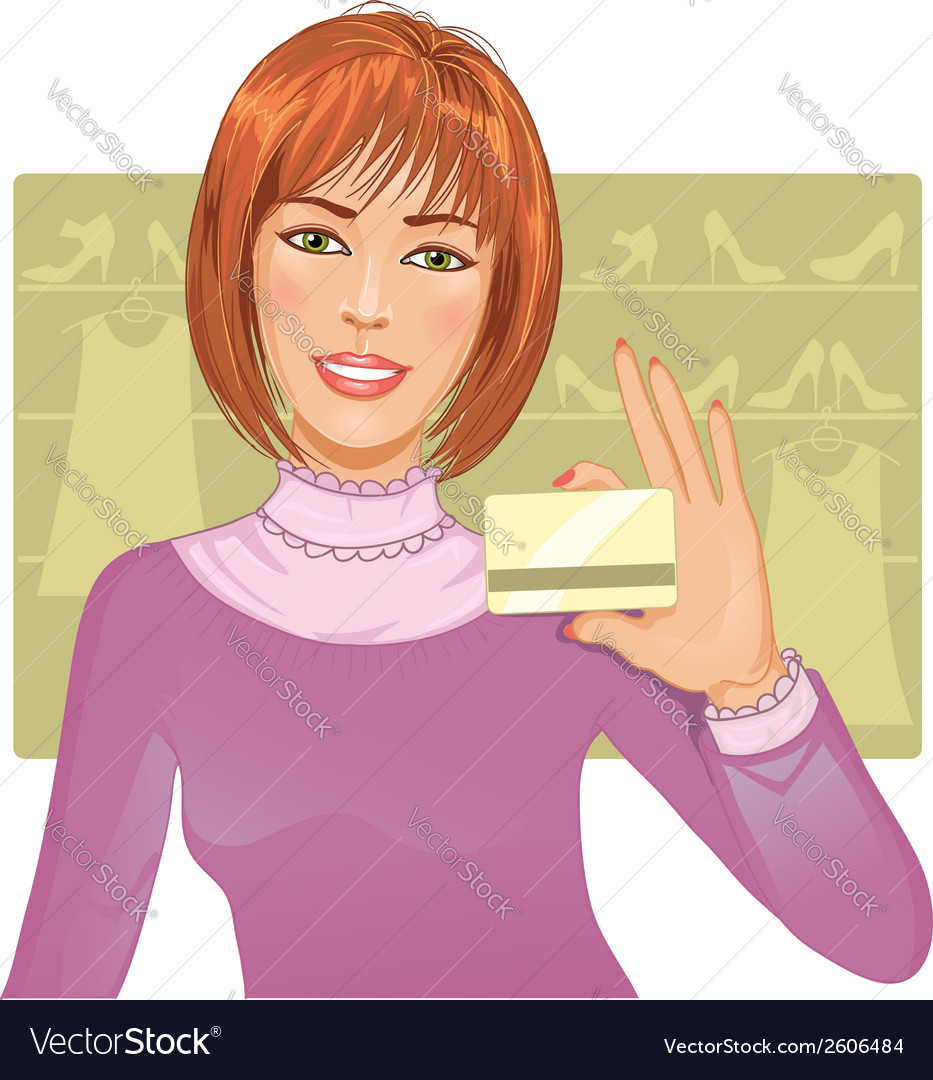Young woman with a credit card vector | Price: 1 Credit (USD $1)