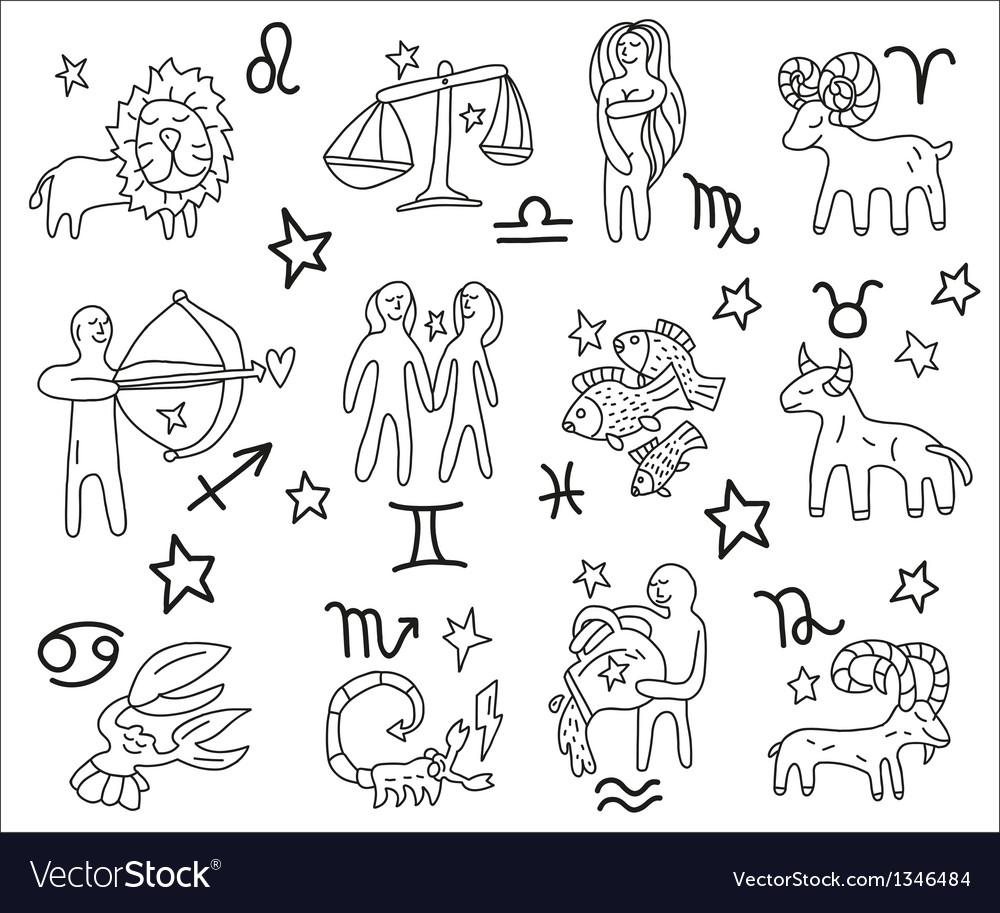 Zodiac icons doodles set vector | Price: 1 Credit (USD $1)