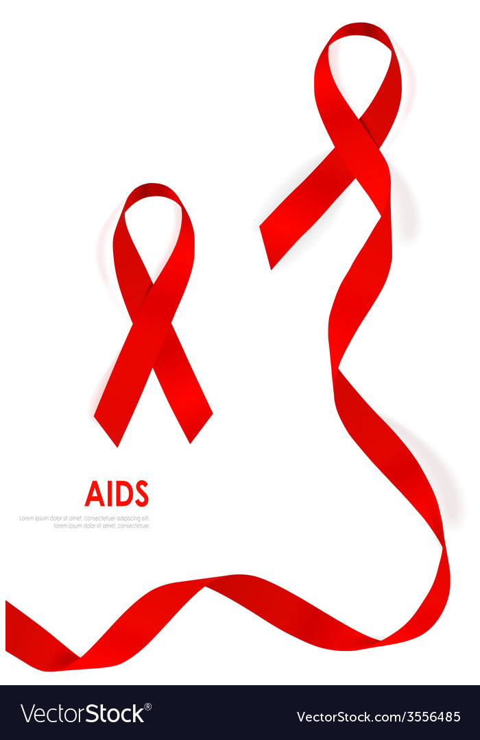 Aids awareness red heart ribbon on white vector | Price: 1 Credit (USD $1)