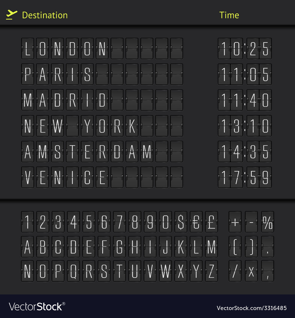 Analog airport scoreboard vector | Price: 1 Credit (USD $1)