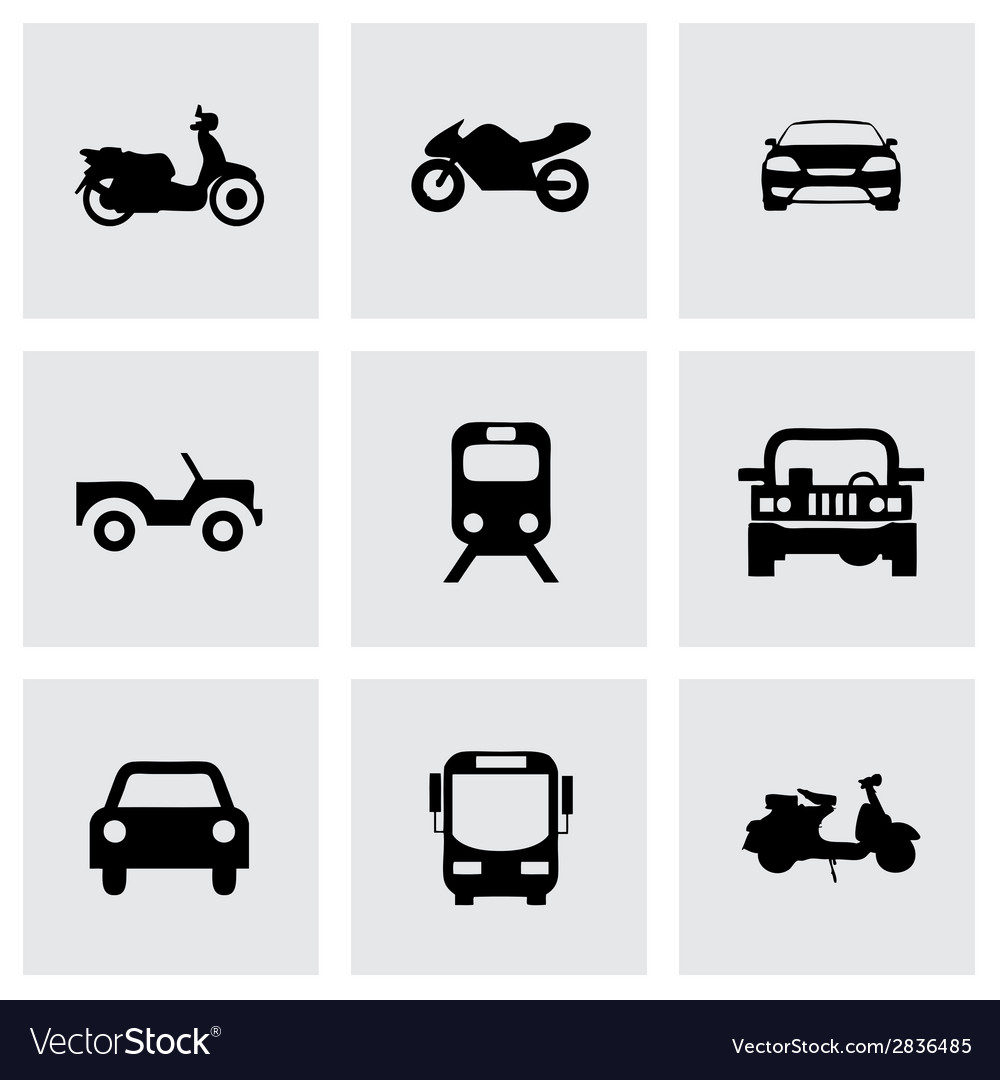 Black vehicles icons set vector | Price: 1 Credit (USD $1)
