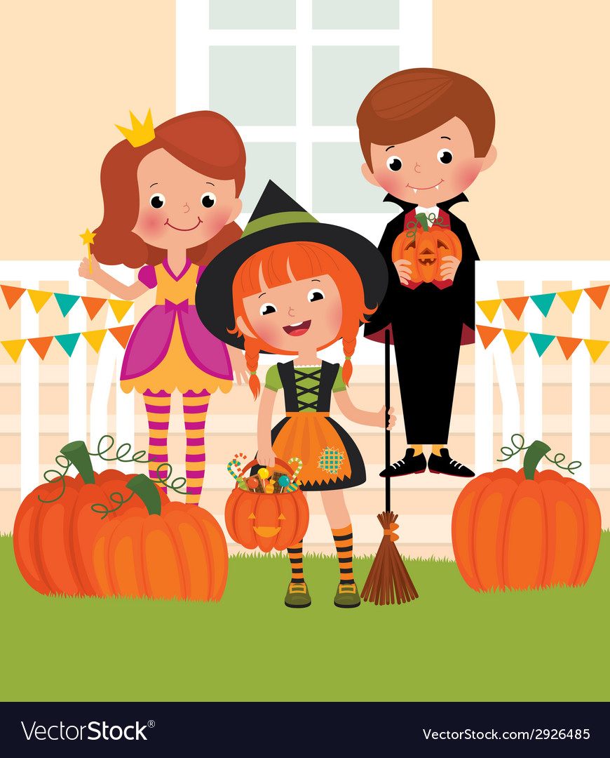 Children in celebration of halloween on the doorst vector | Price: 1 Credit (USD $1)