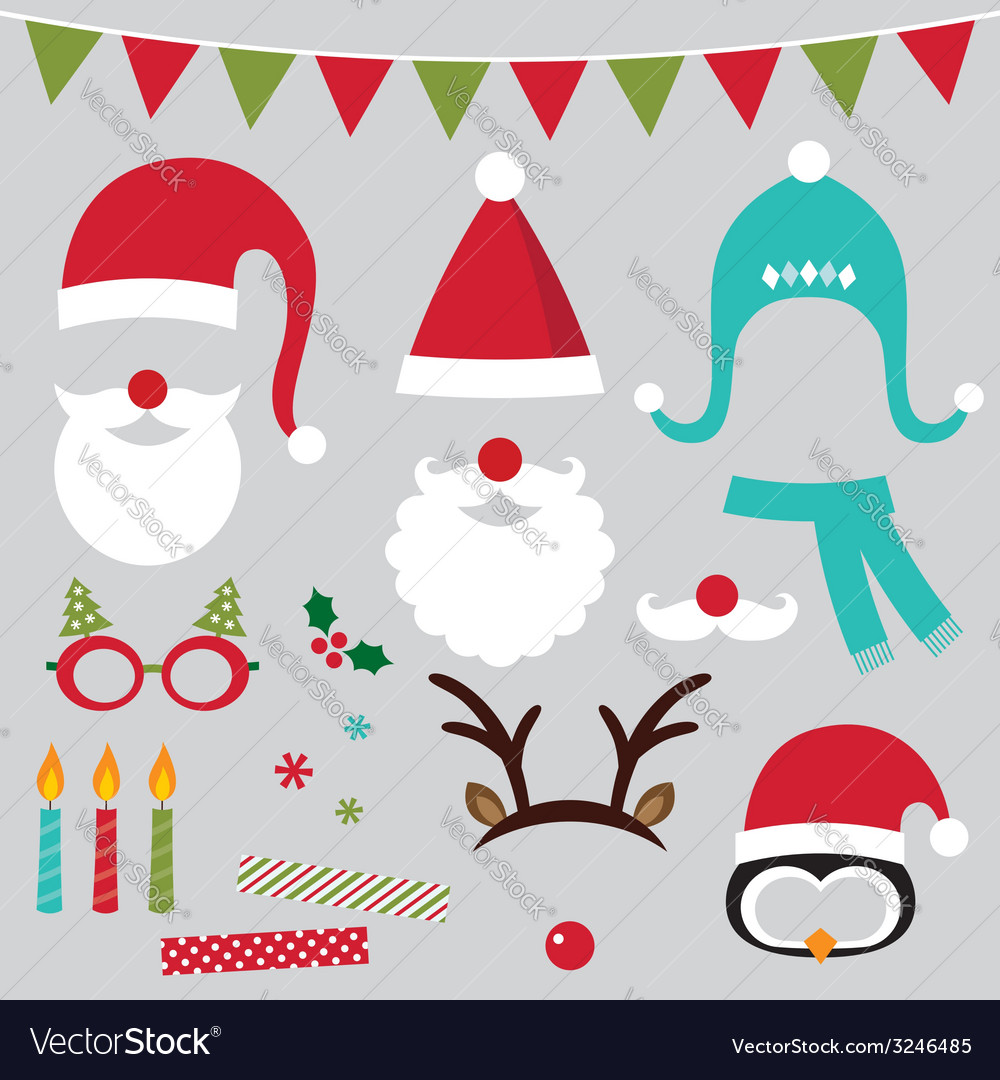 Christmas photo booth and scrapbooking set vector | Price: 1 Credit (USD $1)