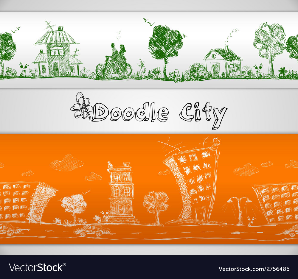 City doodle seamless border vector | Price: 1 Credit (USD $1)