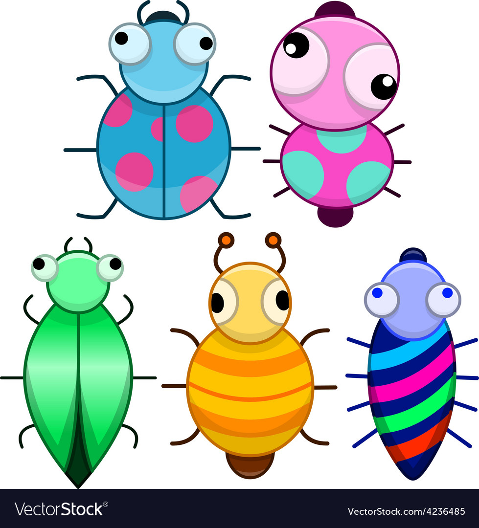 Funny colorful cute little bugs vector | Price: 1 Credit (USD $1)