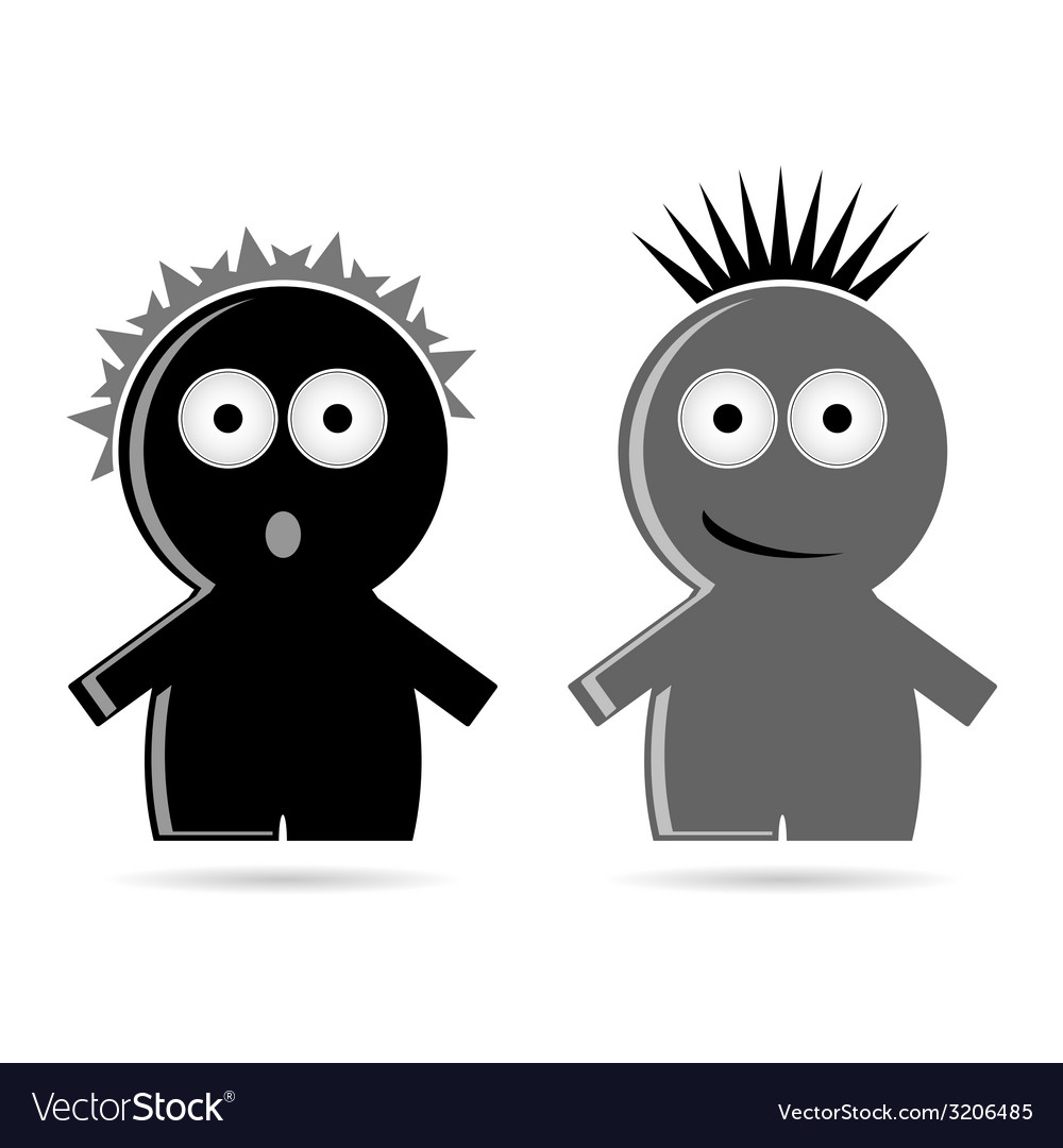 Funny grey and black people icon vector | Price: 1 Credit (USD $1)