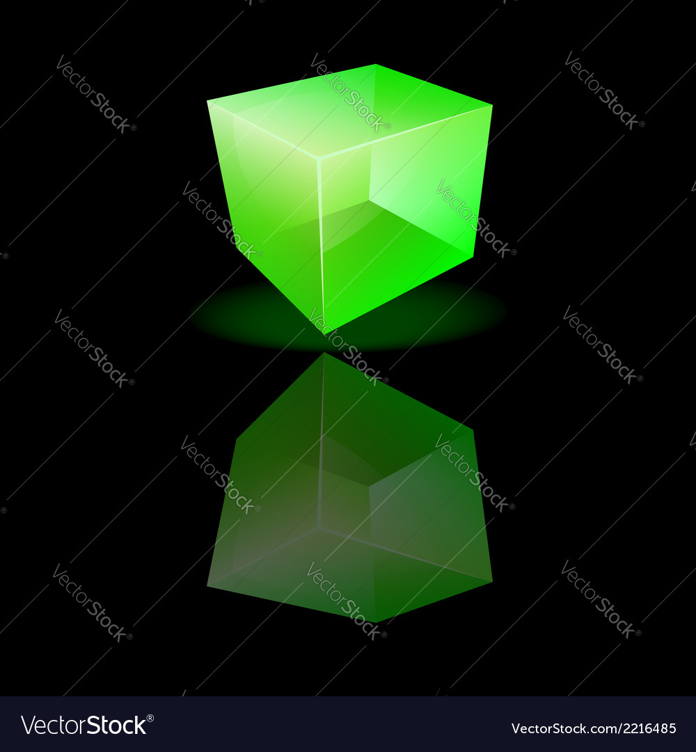 Green glass cube on a smooth surface vector | Price: 1 Credit (USD $1)