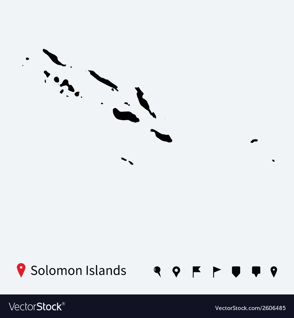 High detailed map of solomon islands with pins vector | Price: 1 Credit (USD $1)