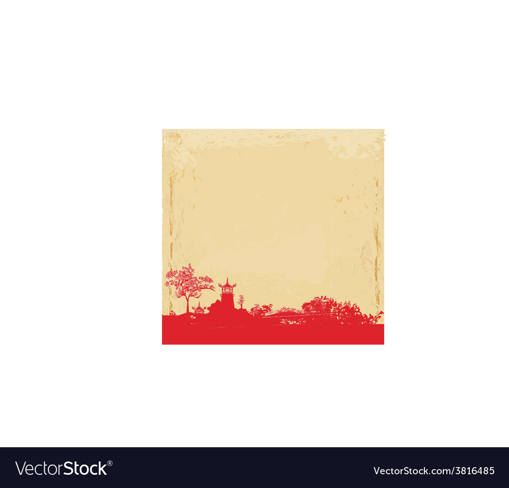Old paper with japanese temple on abstract asian vector   Price: 1 Credit (USD $1)