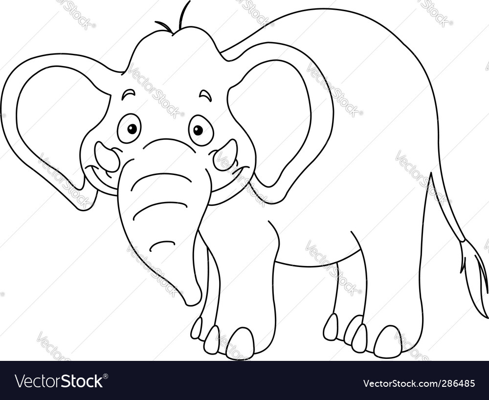 Outlined elephant vector | Price: 1 Credit (USD $1)