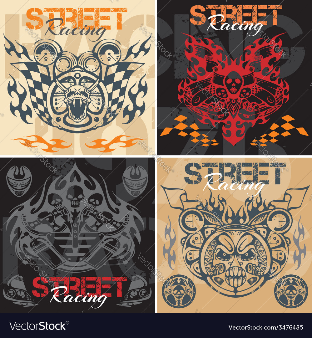 Retro street racing set vector | Price: 1 Credit (USD $1)