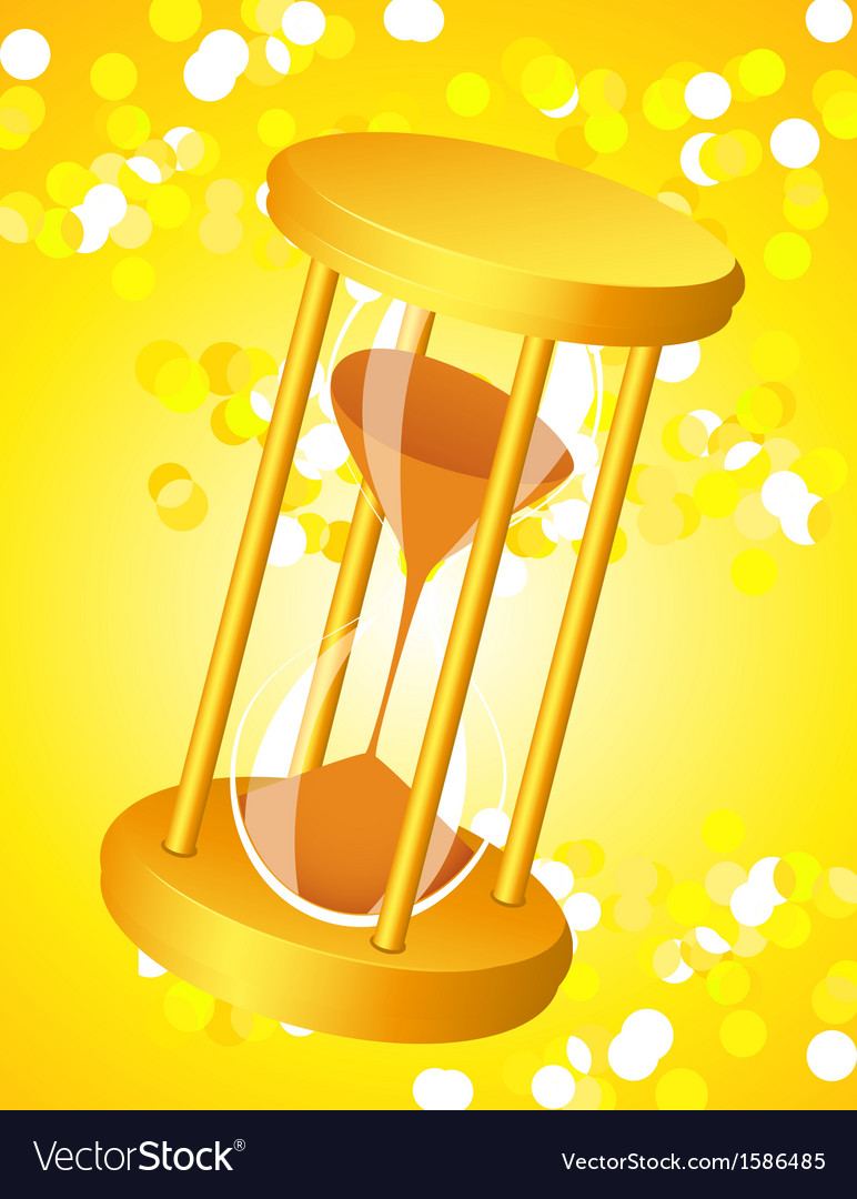 Sandglass on glare light background vector | Price: 1 Credit (USD $1)