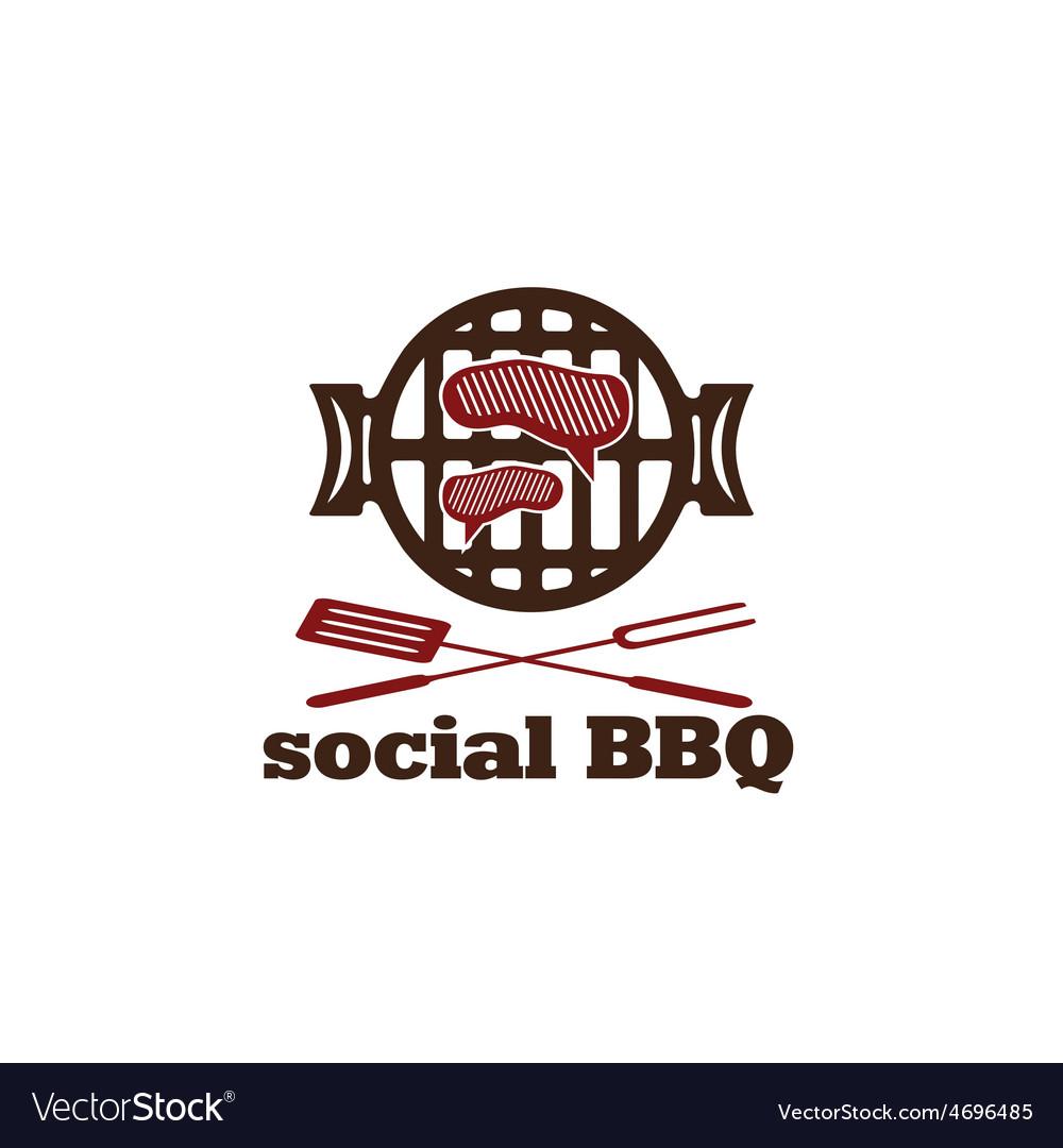 Social bbq concept design template vector | Price: 1 Credit (USD $1)