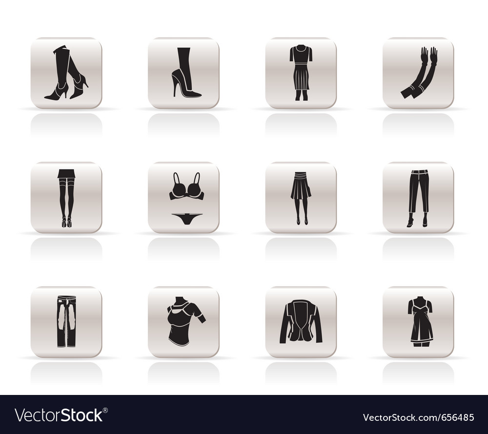 Woman and female clothes simple icons vector | Price: 1 Credit (USD $1)
