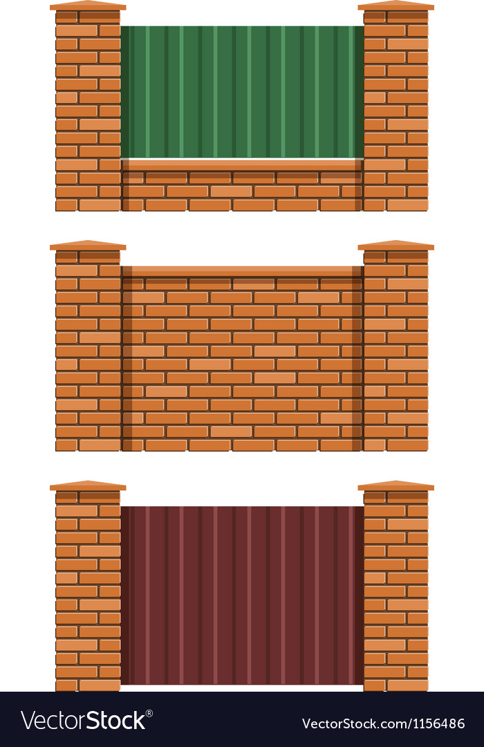 Brick fence vector | Price: 1 Credit (USD $1)